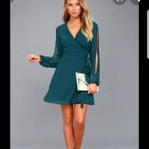 Teal blue wrap dress with split sleeves
